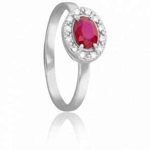 Bague Ovale Rubis Ø 4 mm & Diamants