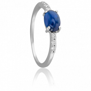 Bague Cabochon Saphir, Diamants & Or Blanc 18K