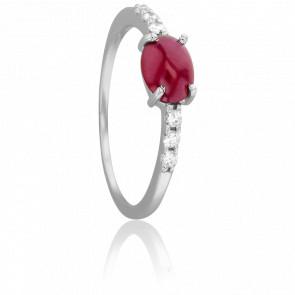 Bague Cabochon Rubis Ovale & Diamants
