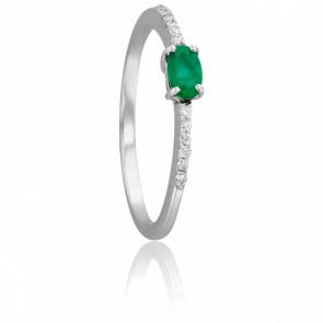 Bague Ovale Emeraude Ø 3 mm & Diamants