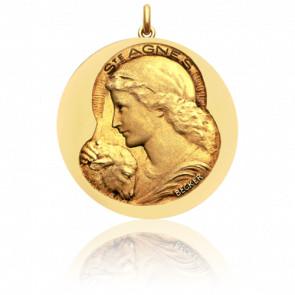 Médaille Sainte Agnès Or Jaune 18K
