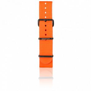 Bracelet Nato 20mm Orange, Longueur 280 mm, boucle PVD noir