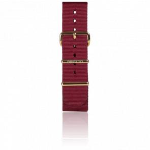 Bracelet Nato 20 mm Bordeaux, Longueur 245 mm, boucle PVD Or jaune