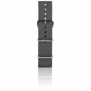 Bracelet Nato 20 mm Gris, Longueur 245 mm, boucle acier
