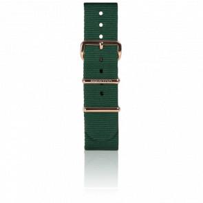 Bracelet Nato 20 mm Vert Anglais, Longueur 245 mm, boucle PVD or rose