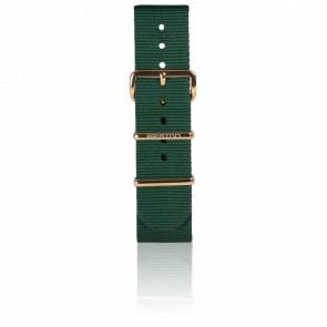 Bracelet Nato 20 mm Vert Anglais, Longueur 245 mm, boucle PVD or jaune