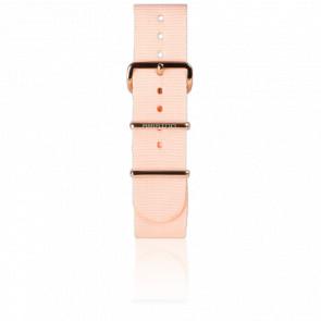 Bracelet Nato 20 mm Rose poudré, Longueur 245 mm, boucle PVD or rose
