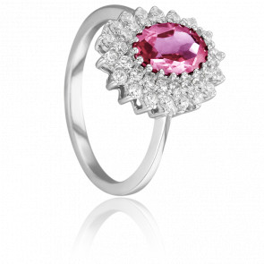 Bague Epiphyllum Or Blanc 18K, Saphir Rose & Diamants