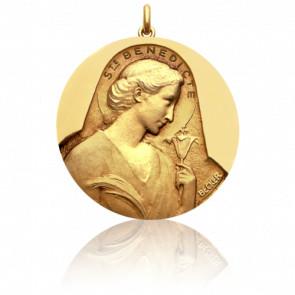 Médaille Sainte Bénédicte Or Jaune 18K