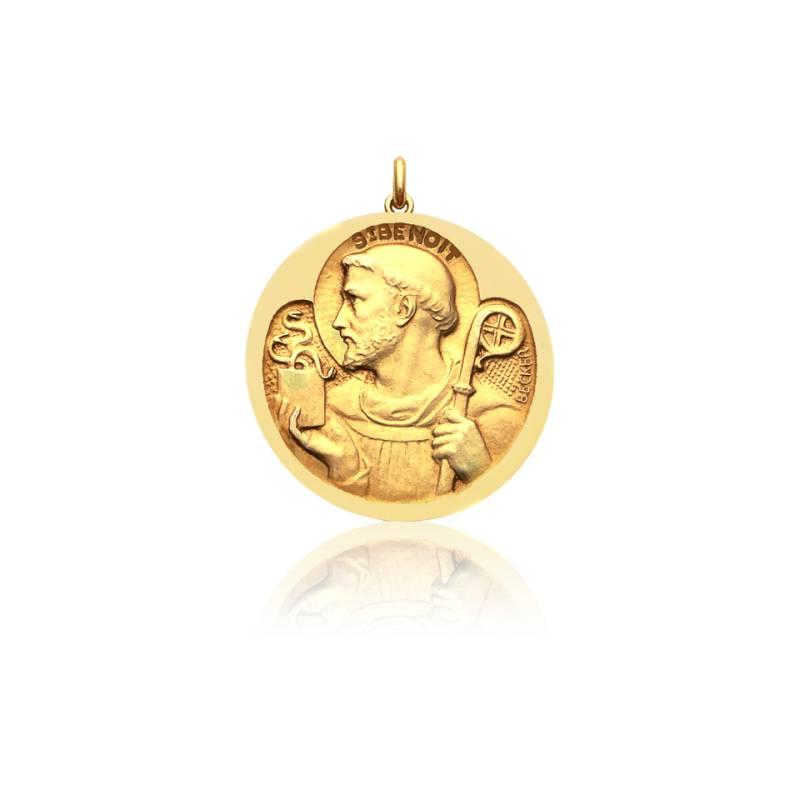 Médaille Saint Benoit Or Jaune 18K