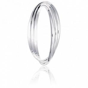 Bracelets Demi-Jonc Plat Entrelacés Diamètre 68 mm Or Blanc Massif 18K