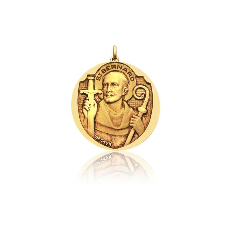 Médaille Saint Bernard Or Jaune 18K