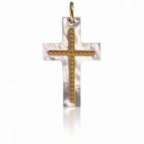 Pendentif double Croix en Nacre et or jaune 18K