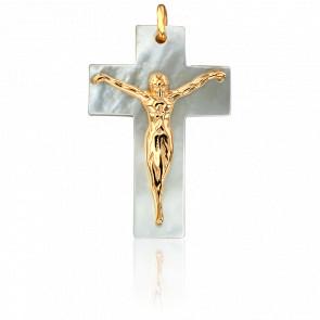 Pendentif Croix en Nacre et Christ en or jaune 18K