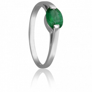 Bague Solitaire Emeraude 7x5 mm Or Blanc