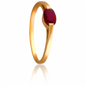 Bague Rubis Ovale Solitaire Or Jaune