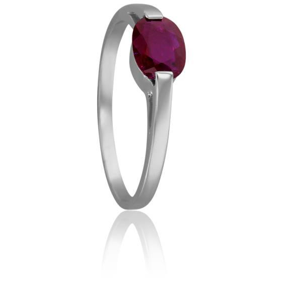 Bague Solitaire Rubis Ovale 7x5 mm
