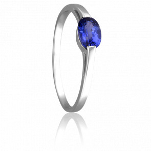 Bague Saphir Ovale Solitaire Or Blanc