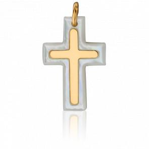 Pendentif Croix Nacre et Or Jaune 18K