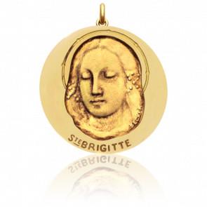 Médaille Sainte Brigitte Or Jaune 18K
