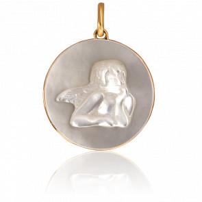 Médaille Ange Raphaël Nacre & Or Jaune 18K