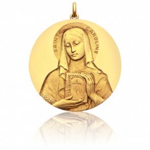 Médaille Sainte Caroline Or Jaune 18K