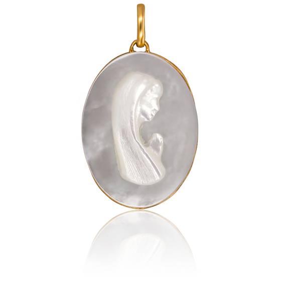 Médaille Ovale Vierge En Prière Nacre et Or Jaune 18K