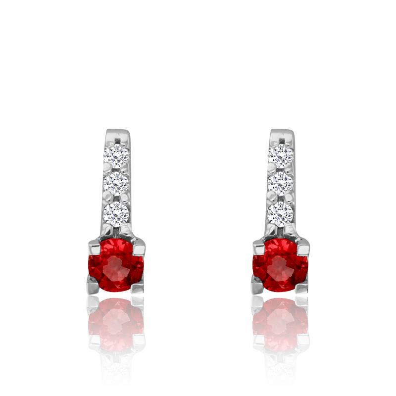 Boucle d'oreille rubis rouge