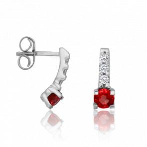 Boucles d'Oreilles Boutons Rubis Ø 3,5 mm & Diamants 0,12 ct