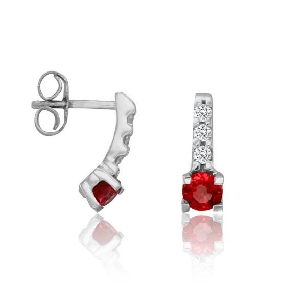 boucles d 39 oreilles rubis diamants 0 12 ct et or blanc 18. Black Bedroom Furniture Sets. Home Design Ideas