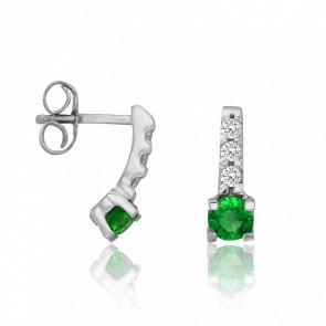 Boucles d'Oreilles Boutons Emeraude Ø 3,5 mm & Diamants 0,12 ct