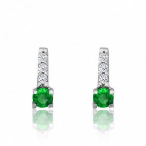 Boucles d'oreilles émeraude, pavage diamants & or blanc 18 carats