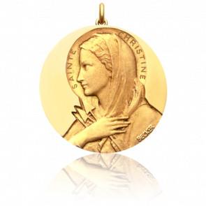 Médaille Sainte Christine Or Jaune 18K