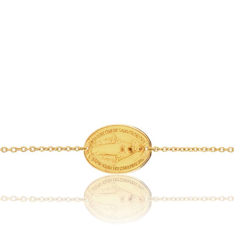 Bracelet Médaille Vierge Miraculeuse Or Jaune 18K