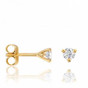 Puces d'Oreilles Shine Diamants 0,20 ct GSI & Or Jaune 18K