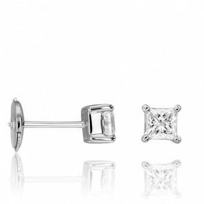 Puces d'Oreilles Diamants Princesse 0,80 ct GSI & Or Blanc 18K