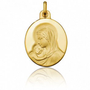 Médaille Ovale Vierge à l'Enfant Or Jaune 18K