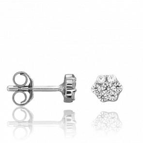 Puces d'Oreilles Fleur Or Blanc 9K et Diamants 0,20 ct