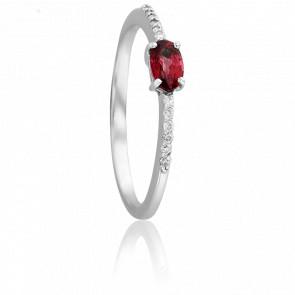 Bague Ovale Rubis Ø 3 mm & Diamants