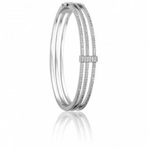 Bracelet 3 Bandes Or Blanc 18K & Diamants - Joelli