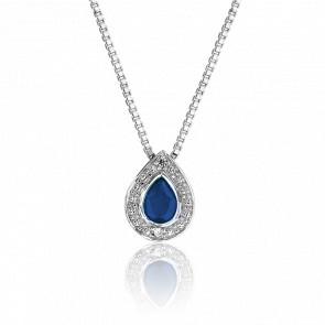 Collier Goutte Saphir, Diamants & Or Blanc 18K