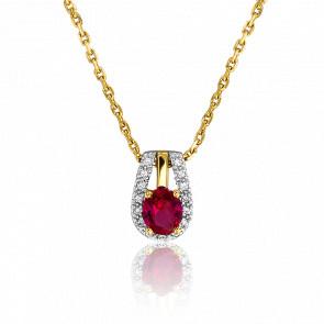 Collier Ovale Rubis & Diamants
