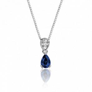 Collier Deux Gouttes Saphir & Diamant