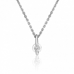 Collier Solitaire Or Blanc 18K & Diamant - Joelli