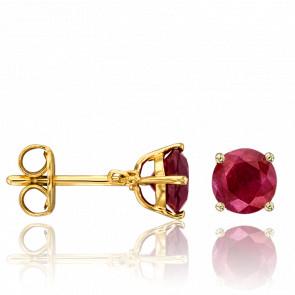 puces d'oreilles rubis et or jaune 18 carats
