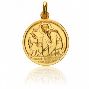 Médaille Réversible Saint François d'Assise Or Jaune 18K