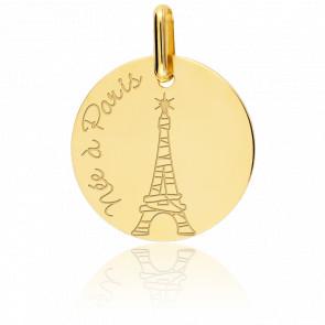 """Médaille fille """"Née à Paris"""" Or Jaune"""