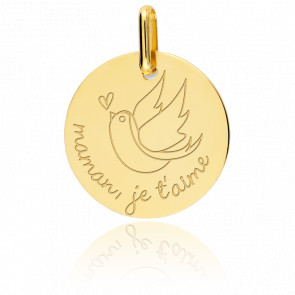 Médaille Maman Je T'aime Or Jaune