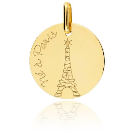 """Médaille Garçon """"Né à Paris"""" Or Jaune"""
