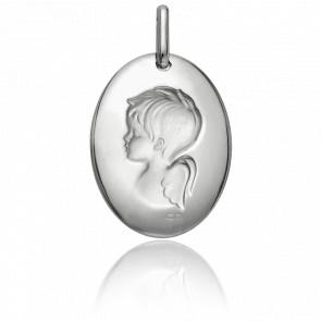 Médaille Ovale Angelot Rêveur Or Blanc